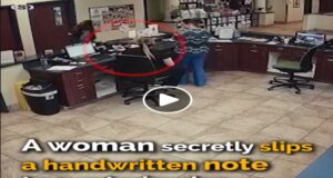 A shaking woman secretly slips a handwritten note to a veterinarian – the vet realizes she has to act ...