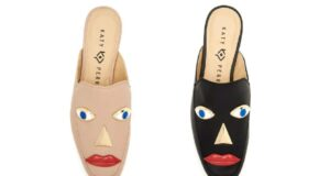 The singer's shoe designs featured faces with large red lips. Pics: Katy Perry Collections